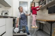 Father and daughter cleaning