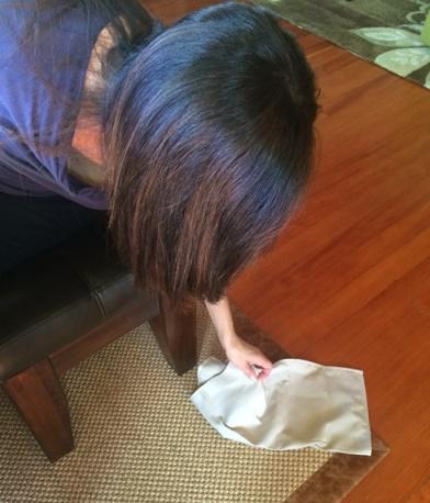 Dropped napkin on floor