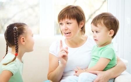 Mother Talking to Children