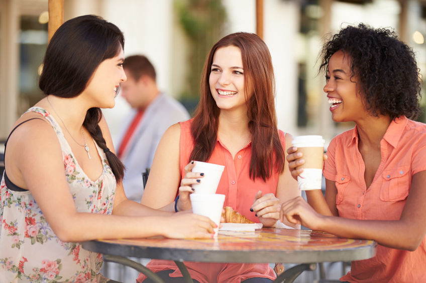 Three Friends in a Cafe