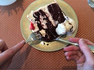 Using a dessert spoon and fork